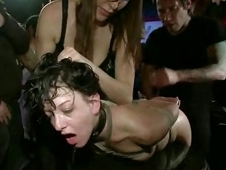 brunette slut humiliated inside the arena
