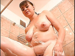 shy chubby girl in the shower