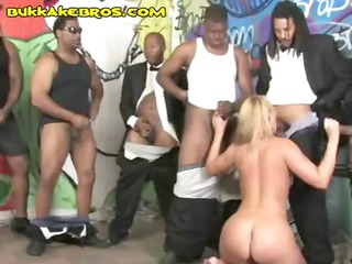 blonde is in a blowbang with a bunch of large