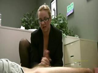 employee obtains masturbated by his busty lady