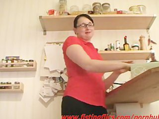 inexperienced maiden ass fisted in the kitchen