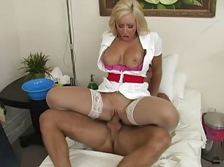 angelic naughty blond doctor taking her cave