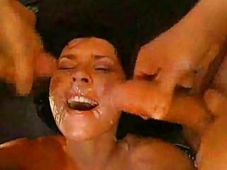 german bukkake lady showered into sperm!