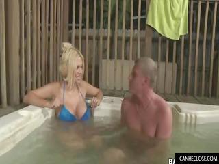 blonde lady gives handjob