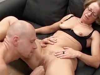 feeding older  babes with glasses dicks