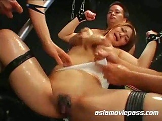 horny eastern  abused by a bunch  of fuckers