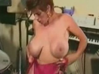 naughty retro lady drilling