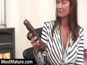 Tattooed mom fucking dildo