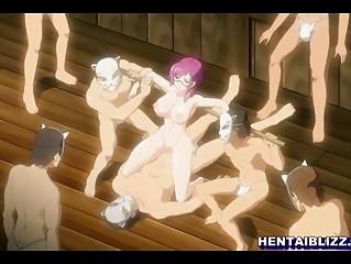 bondage hentai nerdy with large bossom bang