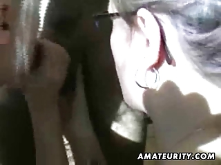 Two amateur sluts suck one cock ! Double blowjob