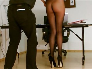 assistant stockings exposed.