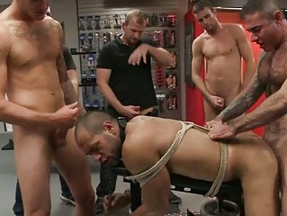 gay hunk obtains tied up and drilled