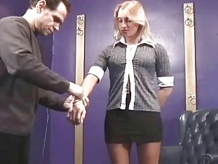 her bottom is soundly spanked
