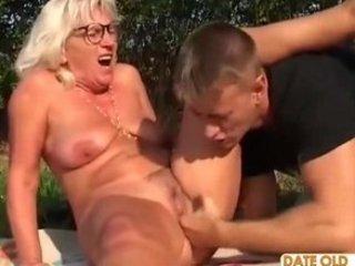 romanian bushy elderly with inexperienced boy
