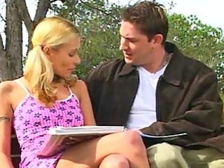 blond young takes picked up and tasted outside