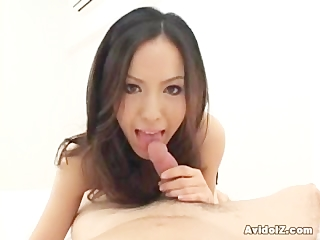 Hot Japanese babe sucks a cock and swallows cum