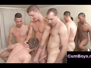 sweet gay acquires mouth gangbanged