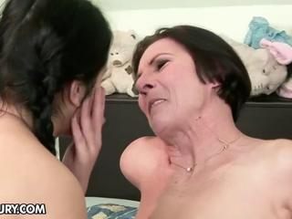 black haired dikes inexperienced and granny