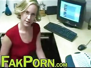 blond employee takes a head from boss