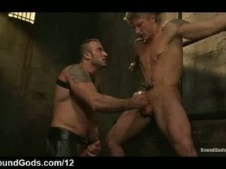 bound gay takes handjob and oral drilled inside