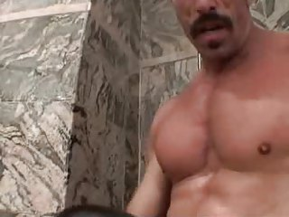muscled dad with bulky mustache bangs raunchy