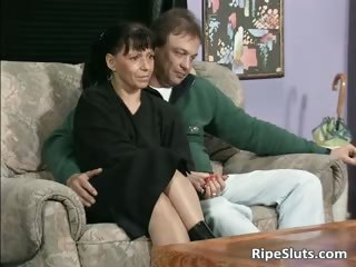 ugly older  bitch licks two libidos part5