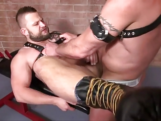 hunky leather boy acquires drilled
