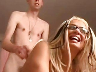 sexy blond with glasses obtains her pussy nailed