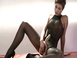 sleek princess inside nylons masturbating