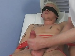 tied and blindfolded bleached twink obtains his