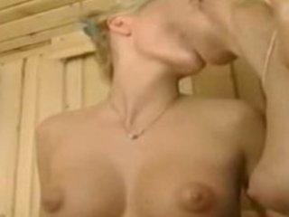 puffy-nippled euro dikes inside the sauna