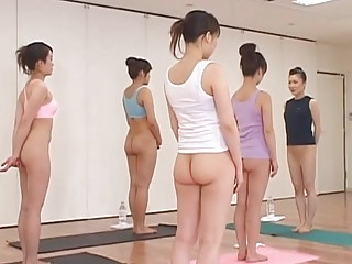 japanese babes practicing naked fitness class