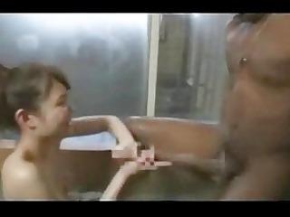ebony giant cock has a shower handjob