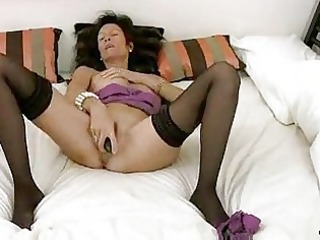 intense cougar in underwear masturbation
