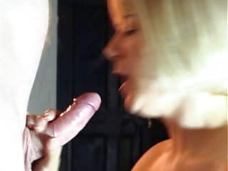 white cream on face after fellatio from blonde