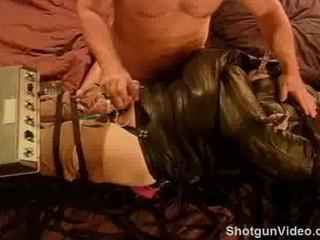 cbt electro stim inside leather restraint.